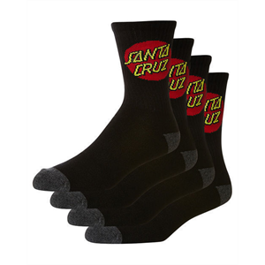 Win18 SANTA CRUZ SOCKS 4PR BLACK -footwear-Blitz Surf Shop
